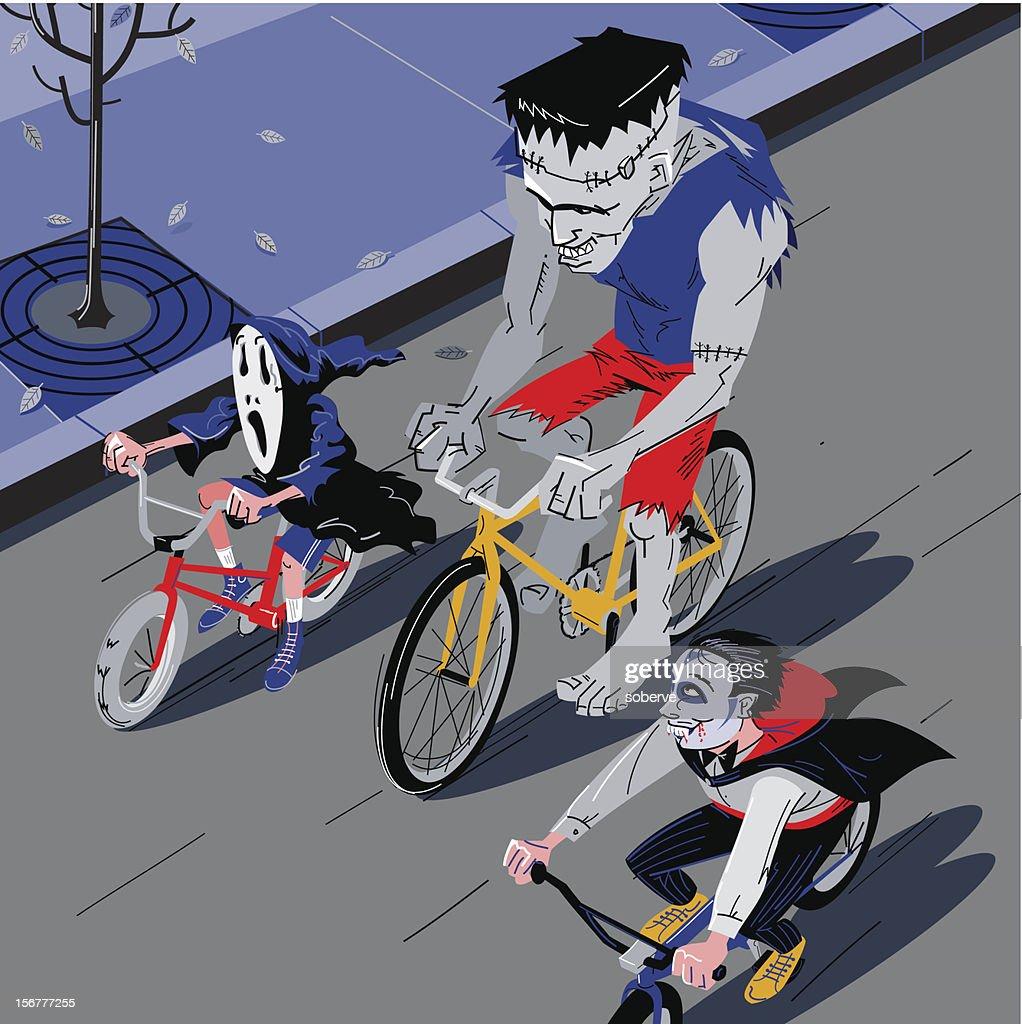Halloween Bike Ride : Vector Art