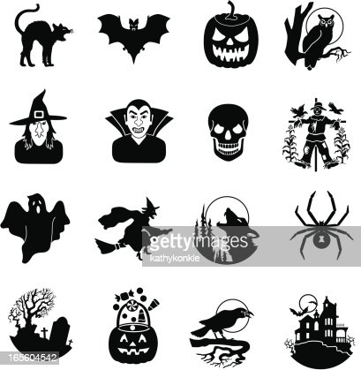 Halloween black and white icons vector art getty images - Halloween black and white ...