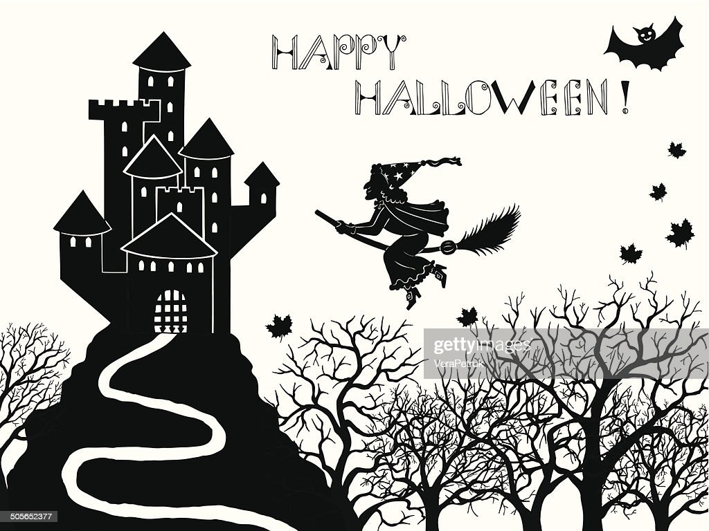 halloween card with castle and witch vector art getty images