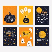 Vector Halloween greeting card, flyer, banner, poster templates with handwritten lettering. Vector collection with pumpkins, ghosts, owl, moon, scary hat. Perfect for party invitation.