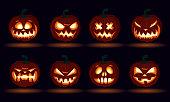 Halloween carved pumpkin face emotions set jack o lanterns design set number