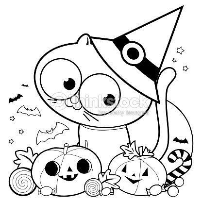 Gato De La Halloween Calabazas Y Dulces Blanco Y Negro Para Colorear ...