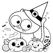 Halloween with witch hat, pumpkins and candy. Vector black and white illustration