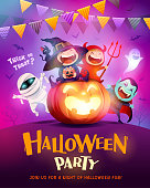 Halloween costume concept party. Party background with colored pennant bunting.