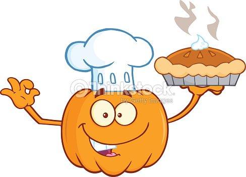 Halloween Zucca Torta Con Uno Chef Arte vettoriale  45ace18ac23a