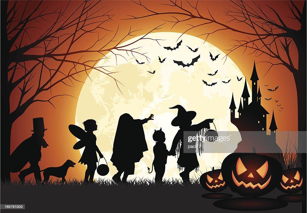 Halloween Children trick or treat : Vector Art