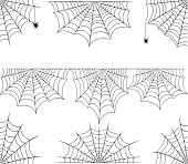 Halloween cobweb vector frame border and dividers isolated on white with spider web for spiderweb scary stock design illustration