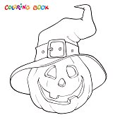 Halloween coloring book or page. Pumpkin in the hat.
