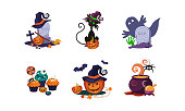 Halloween design elements set, scary symbols vector Illustration isolated on a white background.