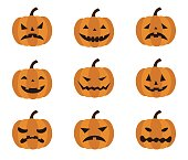 Halloween, different facial expressions of Jack o Lantern