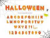 Halloween font for kids. Pumpkin orange letters and numbers. Vector