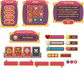 Complete set of game user interface elements for creating Halloween themed video games