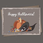 Halloween greeting card based on hand drawn elements. Great for cards, party invitations, holiday design.