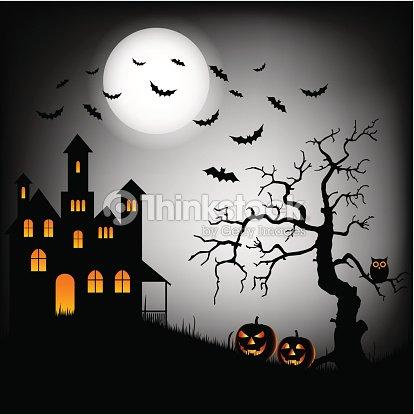 Halloween De Miedo Castillo Con Murciélagos Y árbol Plantilla De ...