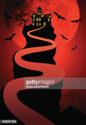 Halloween Haunted House Background With Moon and Bats : Vektorgrafik