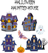 Vector illustration of Halloween Haunted house collection set