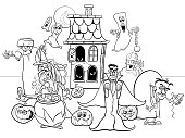Black and White Cartoon Illustration of Halloween Holiday Funny Characters Group Coloring Book