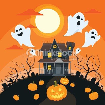 Halloween House Goust Pumpkin Face Party Invitation Card