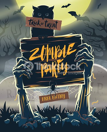 halloween invitation poster signboard in hands of zombies ベクトル