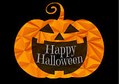 Jack o lantern pumpkin with triangular carve texture isolated on black background for halloween greeting