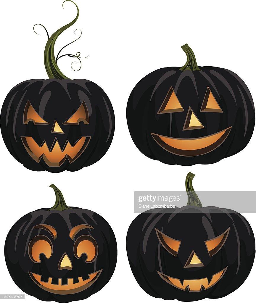 halloween jackolantern face set black vector art getty images