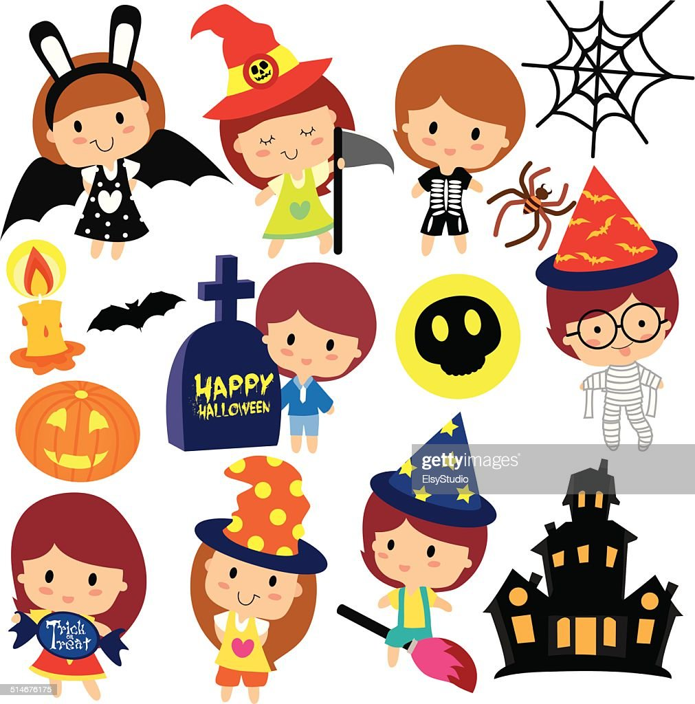 halloween kids clip art set vector art thinkstock rh thinkstockphotos com