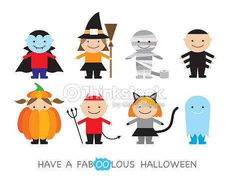 Halloweenkinder In Kostümen Vektorgrafik   Thinkstock