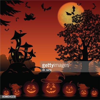Dia das Bruxas Paisagem com abóboras Jack-o-lantern : Arte vetorial