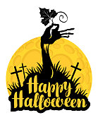 Happy Halloween lettering with zombie hand and pumpkin leaf at the cemetery on the background of full moon. Vector calligraphic inscription for banner, poster, greeting card, party invitation.