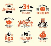 Halloween Logo Templates, Badges Set. Handwritten Ink Lettering and Hand Drawn Cartoon Doodles. Design Elements for Posters, Party Invitations, Stickers, Gift Cards. Vector illustration