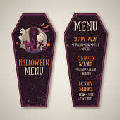 Halloween Menu Design in Coffin Shape. Vector illustration. Textured Backdrop. Cat, Grave and Creepy Ghost Symbols. Typographic Template for Text