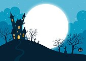 halloween,holiday,night,full moon,tree,pumpkin,blue,illustration