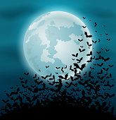Vector illustration of Halloween night background with bat and full moon