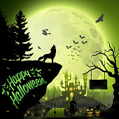 Vector illustration of Halloween night background with roaring wolf