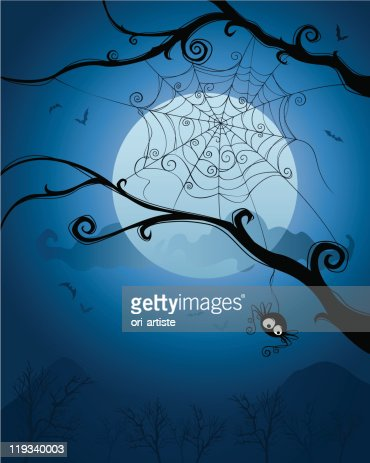 Halloween night with spiders and the net on branches : Vector Art