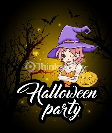 halloween party design with witch ベクトルアート thinkstock