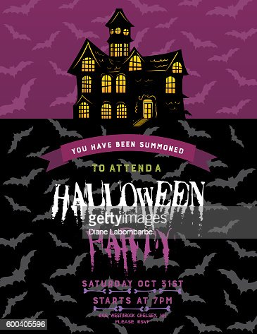 Halloween party invitation template vector art getty images pronofoot35fo Gallery