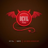 Creative Halloween party invitation or banner design with round frame looking like a devil. Vector illustration on dark background.
