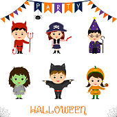 Halloween party kids character set. Children in a colorful Halloween costumes devil pirate pistol astrologer staff zombie bat pumpkin in a cartoon style. Vector, flat.