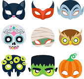 Halloween party masks vector illustration. Cat, devil, monster, pumpkin, mummy owl spider skull designs