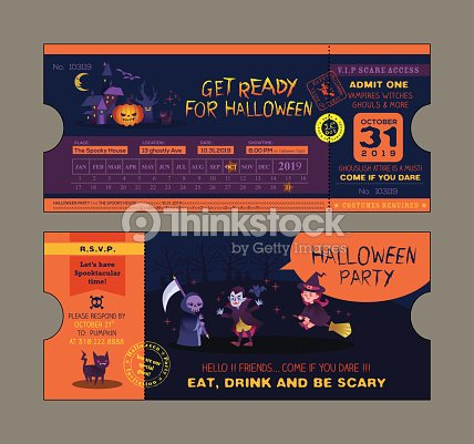 Halloween Party Ticket Card Template Vector Art – Party Ticket Template