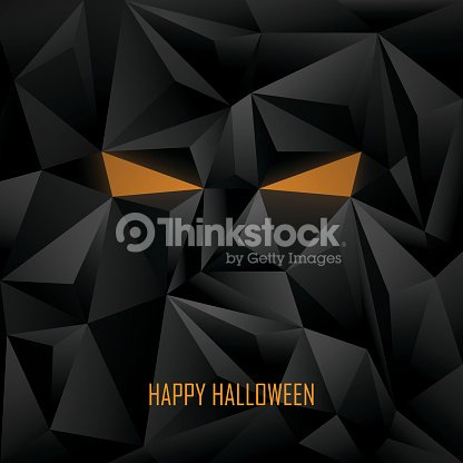 halloween poster template low poly background monster face with evil