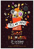 Halloween poster with a pack full of sweets and candies. Includes seamless pattern in the background made of white sweets silhouettes. Vector illustration.