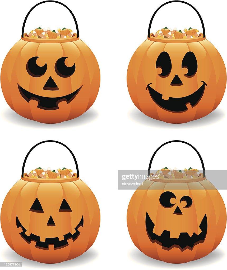 halloween pumpkin jack o lantern candy bucket vector illustration