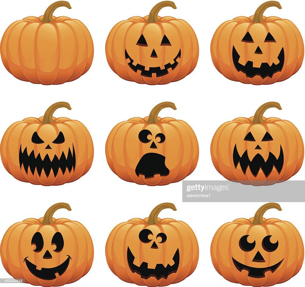 halloween pumpkin jack o lantern vector illustration collection
