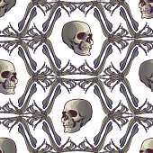Halloween Seamless Pattern. Human hand bones and skulls. Regular geometryc rhythm. Isolated on white background. EPS10 vector illustration