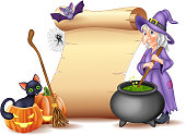 Vector illustration of Halloween sign with witch stirring magic potion