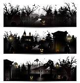 Vector set of three Halloween black silhouettes