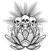 Halloween spirit. Human skulls on a sacred lotus flower with light rays behind. Intricate hand drawing isolated on white background. Tattoo design. EPS10 vector illustration
