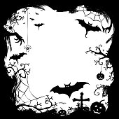Halloween styled frame design with place for text, vector illustration